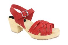 Lotta From Stockholm Torpatoffeln Swedish Clogs : Braided High Heel Clogs in Wax Red Leather 6.5 B(M) US / 37 M EU