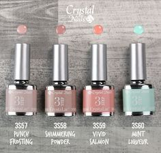 Become a nail design trendsetter with the new spring/summer 2017 colorways of 3 Step CrystaLac! Pretty Nails, Fun Nails, Spring Fever, Spring Summer, Mint Frosting, Crystal Nails, Gel Nail Polish, You Nailed It, Hair And Nails