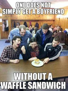waffle girl #12 Waffle Sandwich, Get A Boyfriend, One Does Not Simply, Girl Memes, Waffles, Tuesday, Gifs, Fat, Wrestling