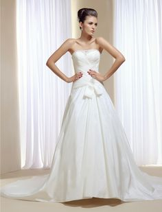 12aaaf087 Wedding Dresses  Strapless pleated bodice beaded embroidery low waist court  train A-line wedding dress. Innovias