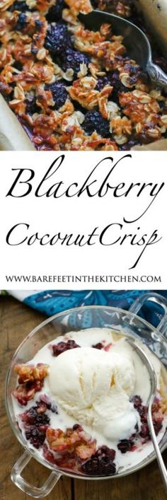 This Blackberry Coconut Crisp begins with tart blackberries that have been sprinkled with sugar and and then layered inside a coconut and oat crust. The crisp is baked until the berries are soft and warm...