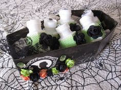 DIY Halloween Bubbles and a mini coffin holder.