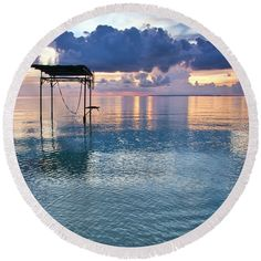 Tropics Round Beach Towel featuring the photograph Towards Tranquility by Kristina Abramovic
