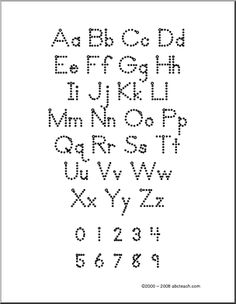 alphabet aa zz with dots zb style font display the chart upper and lowercase letters numbers or practice writing by tracing the dotted letters