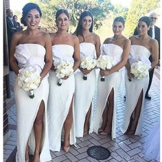 White Strapless Simple With Slit Country Wedding Party Long Bridesmaid Dress. BD087