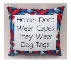 Cross Stitch Pillow, Inspirational Quote, Red White and Blue Pillow, Military Quote
