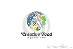 Fish And Vegetables On Plate Logo.  Circle Diet Food Logotype Stock Vector - Image: 66252315