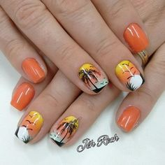 40 Youthful Tropical Summer Nail Designs 2018 New Trends Cruise Nails, Vacation Nails, Sunset Nails, Beach Nails, Beach Nail Designs, Toe Nail Designs, Nails Design, Gomme Laque, Palm Tree Nails