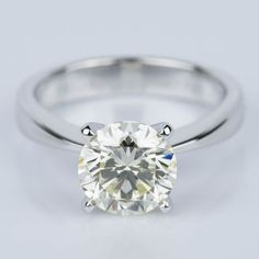 Flat Taper Solitaire Engagement Ring in White Gold with a 2.36 ct. diamond. #trueBrilliance