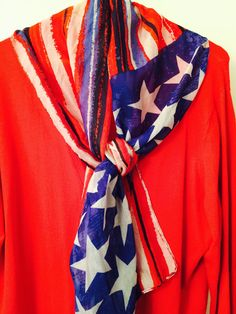 Vintage Red White and Blue Scarf  Stars and Stripes No label Feels like Polyester 60 Inches Long by 28 Inches Wide Very Good Vintage Condition I can find no flaws.  Beautiful Patriotic Bright colored Scarf  Check out my other Scarves https://www.etsy.com/listing/503152585/large-carlisle-silk-print-scarf-gorgeous?ref=shop_home_active_5
