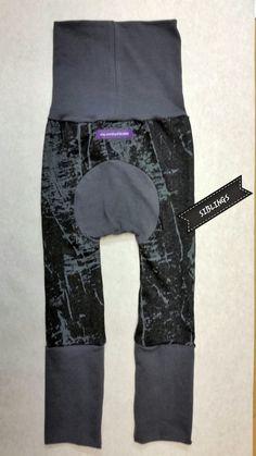 Faux black denim in grunge paintbrush with grey trim by SIBLINGS on Etsy
