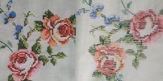 Vintage Linen Cross Stitch Tablecloth, Hand Embroidered, Vintage 80s, 103x108cm / 40.5x42.5in Vintage Tablecloths, Linen Tablecloth, Embroidery Applique, Cross Stitch Embroidery, Vintage Cross Stitches, Lace Knitting, Basic Colors, Embroidered Flowers, Vintage Linen
