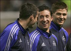 Liverpool FC....Jamie Carragher, Robbie Fowler and Steven Gerrard enjoy the relaxed atmosphere
