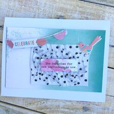 Celebrate Card, by Katherine Maynard using the Walden Pond collection from www.cocoadaisy.com #cocoadaisy #scrapbooking #kitclub #cards #graduation #tissue #recycle #stickers #diecuts #ombre