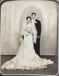 Vintage Large 8x10 Wedding Photo 1940 1950s Bride Groom US | eBay