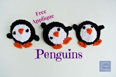 Playful Penguin Crochet Applique