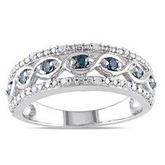 <li>Round-cut blue and white diamonds ring</li> <li>Sterling silver jewelry</li> <li><a href='http://www.overstock.com/downloads/pdf/2010_RingSizing.pdf'><span class='links'>Click here for ring sizing guide</span></a></li>