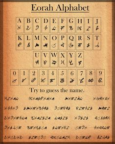 Eorah Alphabet by Hiorou on DeviantArt Alphabet Code, Witches Alphabet, Alphabet Symbols, Alchemy Symbols, Magic Symbols, Symbols And Meanings, Ancient Alphabets, Ancient Symbols, Ciphers And Codes