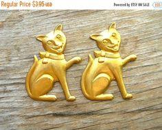 On Sale Happy Cat - Brass Stampings - Happy Cat Embellishments - Brass Findings by BohemianGypsyCaravan