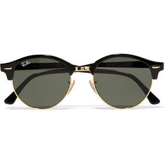 Ray-Ban Ray-Ban - Clubround Acetate And Gold-tone Sunglasses - Black (310 BRL) ❤ liked on Polyvore featuring accessories, eyewear, sunglasses, glasses, oculos, gold colored glasses, ray ban glasses, ray ban sunnies, lens glasses and ray ban sunglasses