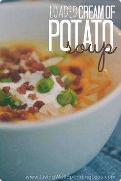 Loaded Cream of Potato Soup: Nothing quite hits the spot like a hearty bowl of hot soup! This creamy potato version comes together surprisingly fast, but the yummy toppings make it feel extra special. A great dish to serve to a crowd-- I Love Food, Good Food, Super Bowl Menu, Creamy Soup Recipes, Cream Of Potato Soup, Hot Soup, Soup And Sandwich, Soup And Salad, Cooking Recipes