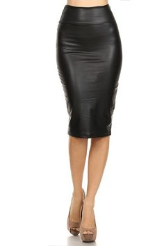 Faux Leather Fitted Pencil Skirt