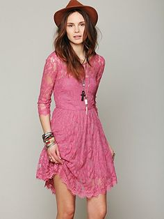 Floral Mesh Lace Dress from Free People. Would be adorable for wedding party. also comes in navy, red, cream and black.
