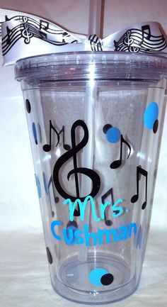 Personalized Music Teacher Tumbler- School Gift. $13.00, via Etsy.