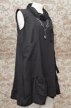 Sarah Santos Lovely Charcoal Grey Tunic Dress Quirky Lagenlook Long Top One Size | eBay