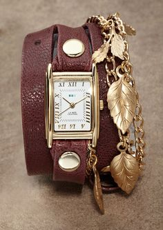 La Mer Collections   Garden Charm Wrap Watch - Burgundy/Gold