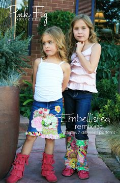Pink Fig Patterns Embellished Remix no30 by CottonBlossomFarm, $12.00