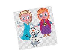 ELSA Anna and Olaf FROZEN Cross stitch Pattern PDF   di POWSTITCH