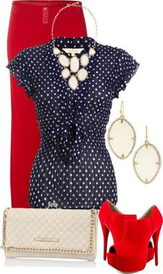 Love polka dots and color combo if shirt and skirt. Love style of both, no to shoes and that jewelry