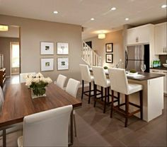 Kitchen dining room white furniture Cappuccino walls