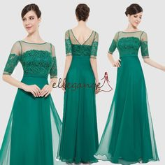 Ever-Pretty Green Bridesmaid Dresses Long Maxi Mother of the Bride Dress 08459
