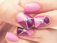 Pink nail art manicure Essie - Cascade Cool, China Glaze - Infra Red, OPI - DS Extravagance, pink nail polish manicure striping tape manicure nail art with studs