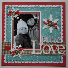One Page Winter Scrapbook layout. fancymelissa.com #ctmh #snowflake #snow