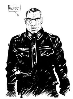 "Here's the character description we sent to Cristian: ""Horst: a Waffen SS officer in black uniform. Mid-30's, wide, strong, muscled, a brute... an ape in a uniform. Ugly, flat nose, blazing crazy eyes, an ugly war scar on his cheek twists his mouth into a perpetual sneer.""    We think Cristian pretty much nailed it in one try."