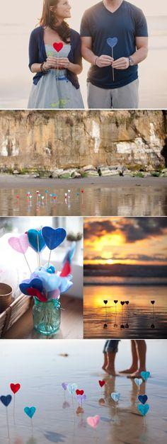 I love these adorable felt hearts. #engagementshoot