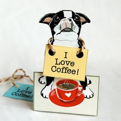 So cute! Coffee Boston Terrier - Desk Decor Paper Doll
