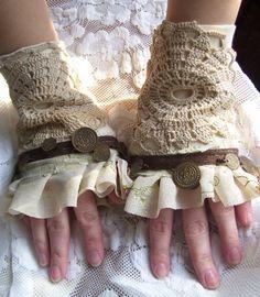 gloves, fingerless gloves, cuff,creamy, vintage crochet piece,gothic,vampire, lace, gypsy, victorian, bohemian by radusport on Etsy https://www.etsy.com/listing/67065401/gloves-fingerless-gloves-cuffcreamy