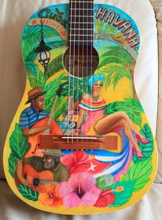 """Painted Guitar by Aspasija T.P. & French Polish with Shellac """"Cuba"""""""