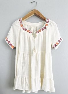 Alexis Top – Olive and Rust Short sleeve,  babydoll tunic, tie tassel front, embroidery detail, loose fit   Cotton Gauze/Rayon Material