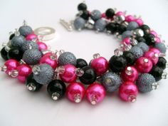 Hot Pink Silver Gray and Black Pearl Beaded Bracelet by KIMMSMITH, $19.00