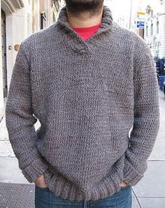 Ravelry: Shawl Collar Sweater pattern by Martin Storey most simple shawl collar I could find, maybe B would like it cuz is grey and simple. by Joy Dancey Mens Knit Sweater Pattern, Shawl Collar Sweater, Sweater Knitting Patterns, Men Sweater, Knitting Sweaters, Crochet Men, Knitted Shawls, Knitted Fabric, Crochet Clothes