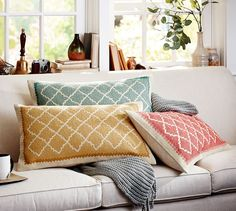 Roz Crewel Embroidered Lumbar Pillow Cover | Pottery Barn