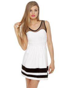 Have a Ball Striped White Dress