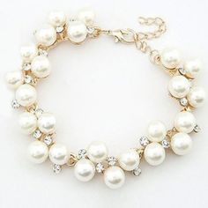 $4.11 Delicate Chic Style Rhinestoned Faux Pearl Strand Bracelet For Women