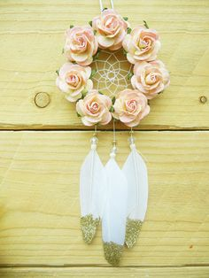 Glitter Flower Car Dreamcatcher: Pink Car by SarahDycePaintings