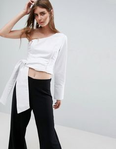 ASOS Denim One Sleeve Tie Detail Top in White - White